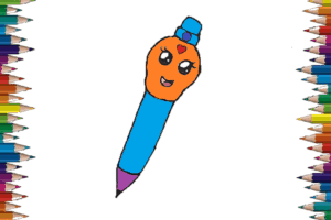 How To Draw a Pen cute and easy - Pen cartoon drawing andColoring Pages For Kids
