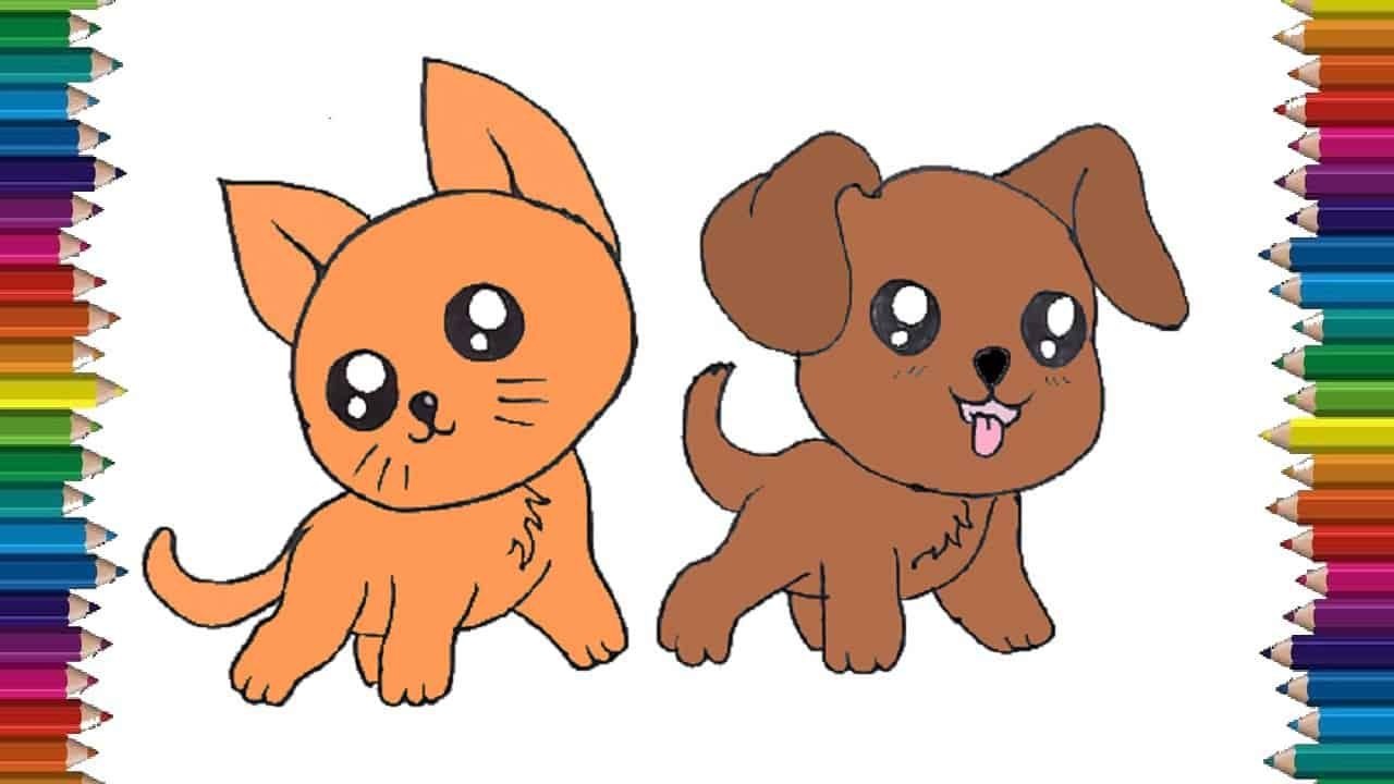Dog and cat drawing , How to draw cute cartoon dog and cat