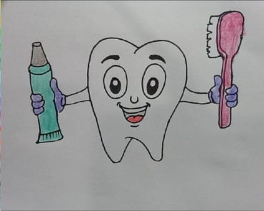 How to Draw Teeth, Toothpaste and Toothbrush