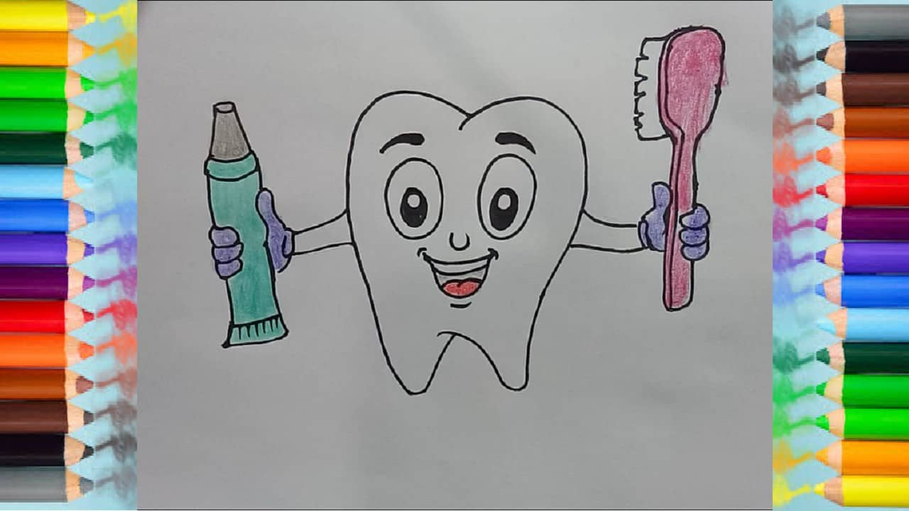 How To Draw Cute Cartoon Teeth Toothpaste And Toothbrush