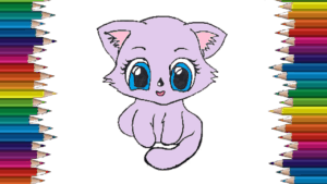 How to draw a baby kitten step by step - Cute kitten drawing easy
