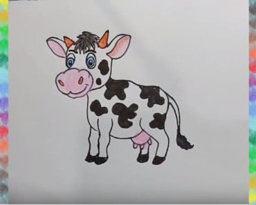 How to draw a cute cartoon cow step by step for kids