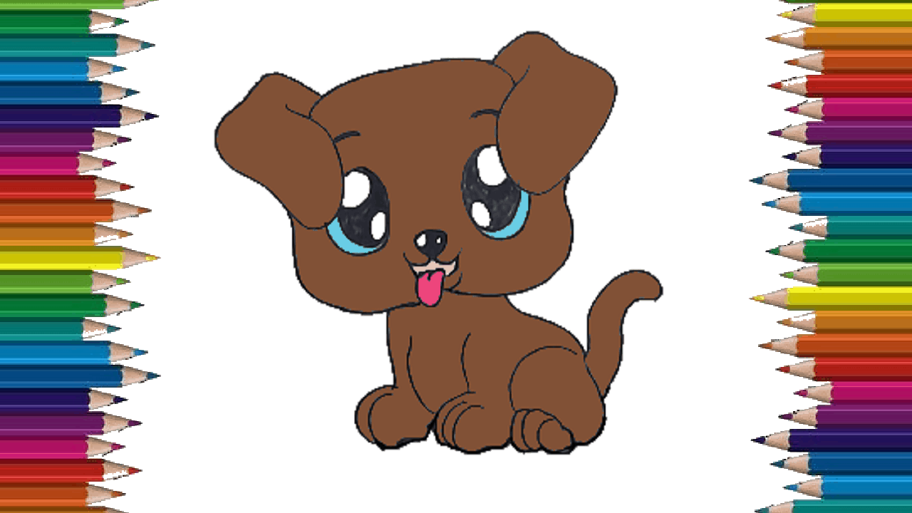 How to draw a cute dog easy - Puppy cartoon drawing step ...