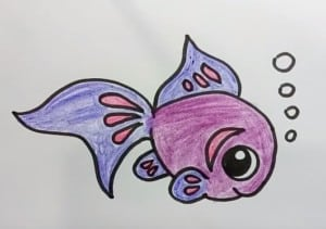 How to draw cute cartoon fish step by step