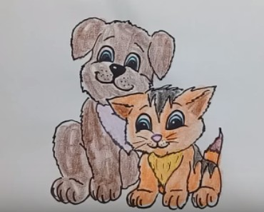 Dog and cat cute Drawing - How to draw Dog and cat cute step by step, easy!