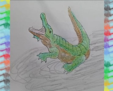 JUMPING CROCODILE ILLUSION - How to Draw 3D Crocodile and coloring pages