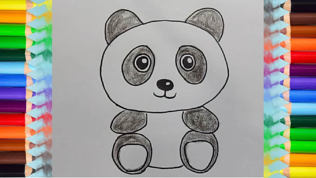 How to draw a cute panda - Easy animals to draw for kids