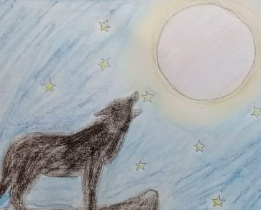 How to draw Scenery of Moonlight Wolf with step by step