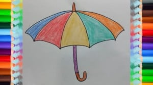 How to draw Umbrella and coloring pages for kids