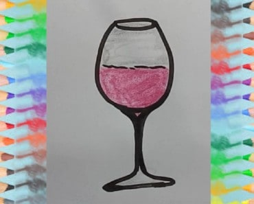How to draw a WINE GLASS for kids