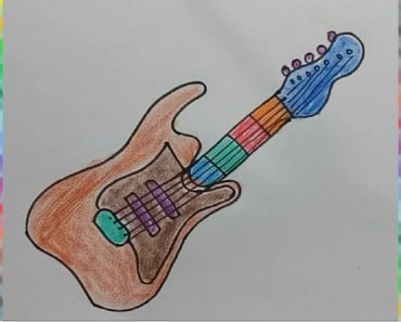 How to draw guitar for kids