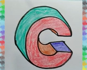 How to draw letter C 3D and coloring for kids