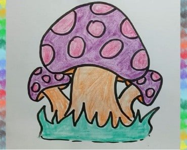 How to draw mushroom for kids