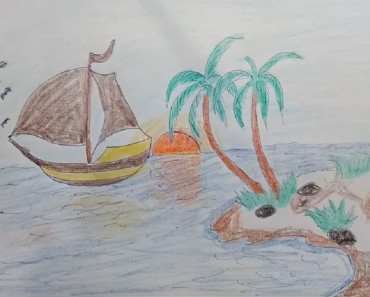 How to draw scenery of Island and coloring step by step for kids