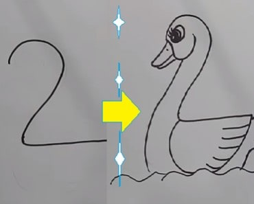 How to turn Numbers 1-5 into the cartoon birds step by step