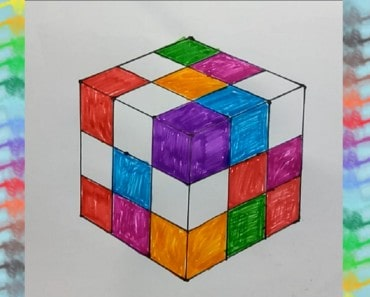 How to Draw Rubik's Cube Kids Coloring Pages Learn Drawing and Coloring for Children