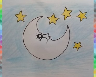 How to Draw moon and star for kids