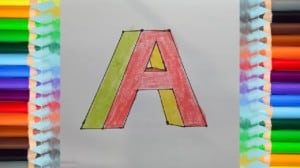 Coloring Book How to Draw the letter A in 3D