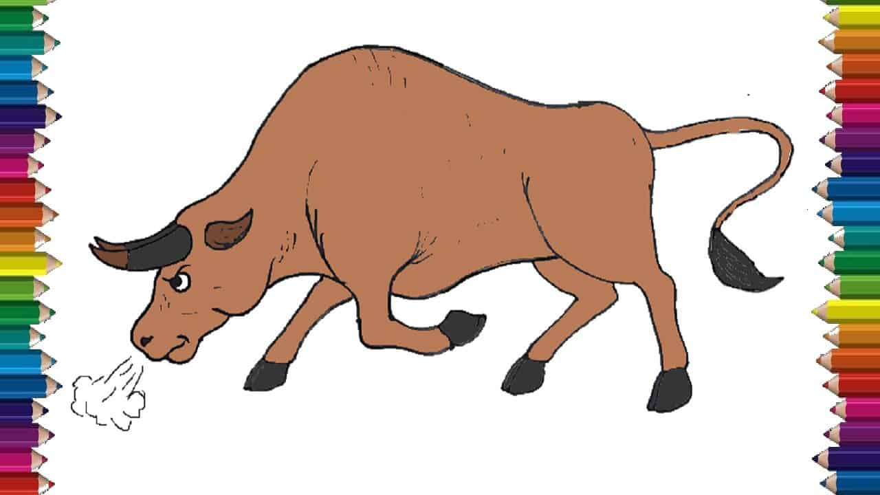 How To Draw A Bull Cartoon Step By Step Easy Animals To Draw