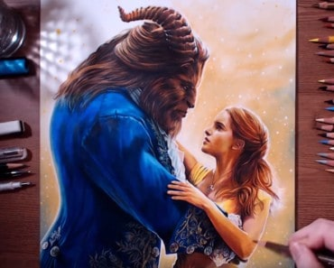 How to draw Beauty and the Beast - colored pencil drawing