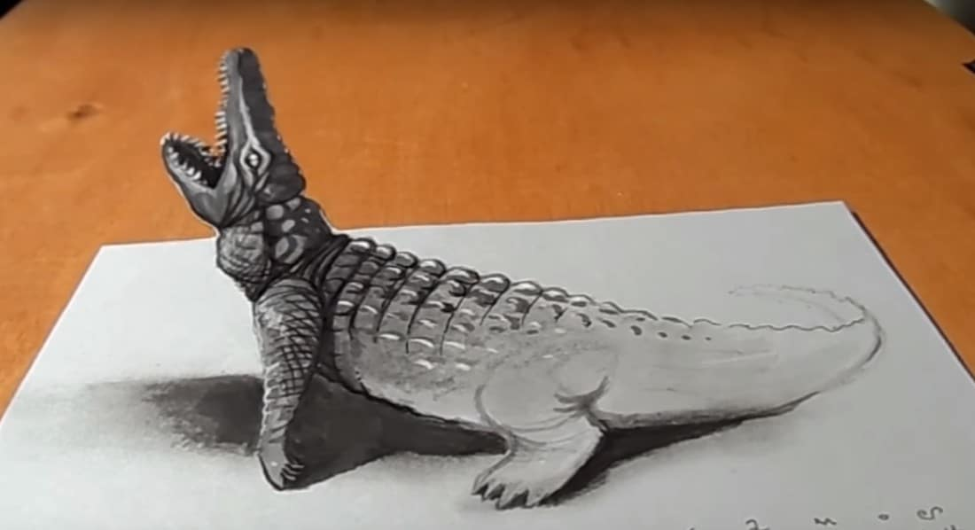 How To Draw A Crocodile 3d 3d Drawing Easy