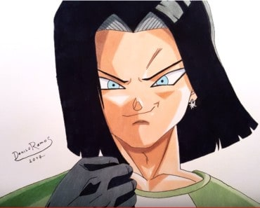 How to draw Android 17 from Dragon Ball z
