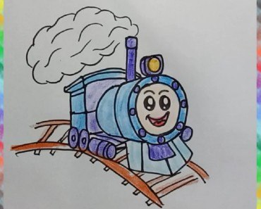 How to draw a cute train
