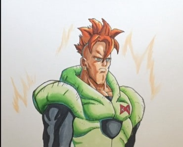 How to draw android 16 from Dragon Ball Z
