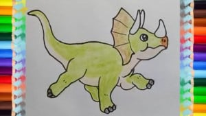 How to draw a triceratops dinosaur cute and easy