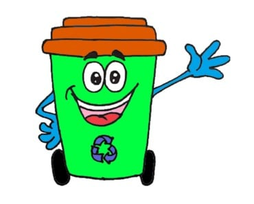 recycle bin drawing for kids - How to draw a cartoon recycle bin cute and easy