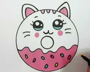 How to draw a cute kitten donut super easy step by step