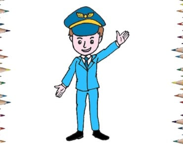 How to draw a pilot easy step by step - Easy drawing for kids