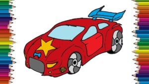 How to draw a race car step by step easy - Car drawing and coloring for kids