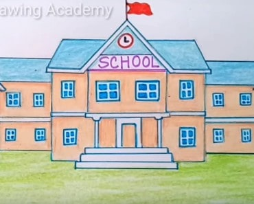 How to draw a school easy step by step