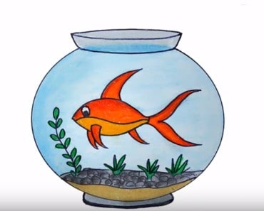 How to draw aquarium easy step by step