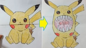 Funny drawing tricks for kids and adults, toothy picture