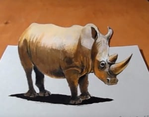 How to draw a Rhino 3D step by step