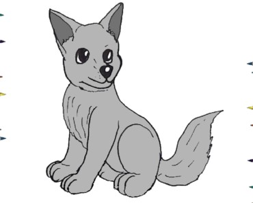 How to draw a wolf pup step by step - Easy animals to draw cute