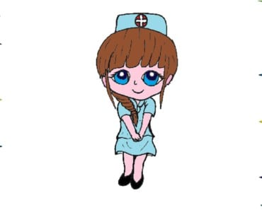 How to draw a cartoon nurse cute and easy step by step