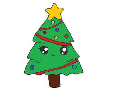 How to Draw a Christmas Tree cute and easy 2018 - Easy drawings for kids