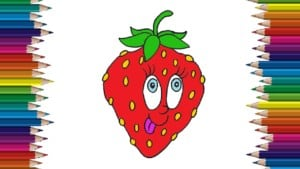 How to draw a Strawberry cute and easy - Fruit drawing and coloring