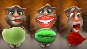 My Talking tom cat, how to draw fruits, chilli,watermelon, banana and Mangoes, tom cat lovable moment.