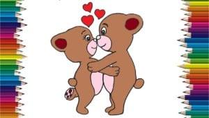 How to draw teddy bear -Teddy Bear love and kiss drawing - How to draw bears cartoon