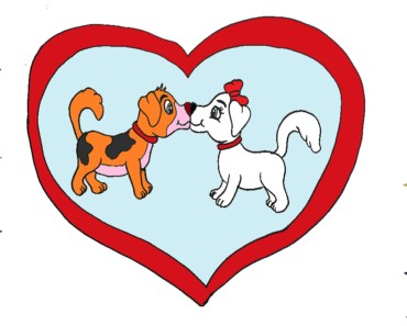 Dog love and kiss drawing - How to draw cartoon dogs