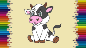 How to draw a cute cow cute and easy - Baby cow drawing step by step