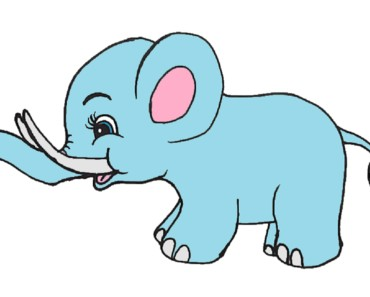 How to draw a baby elephant step by step - Cartoon elephant drawing easy