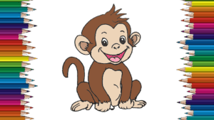 How to draw a baby monkey cute and easy - Cartoon monkey drawing step by step