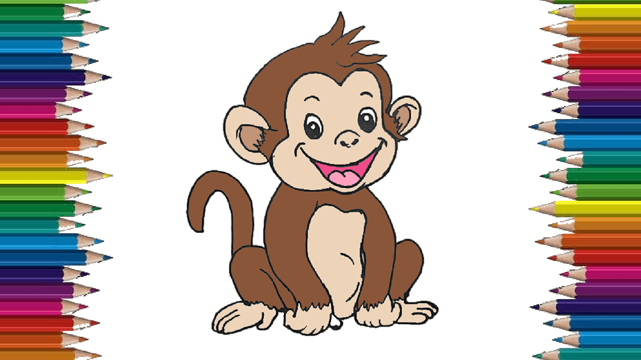 How To Draw A Baby Monkey Step By Step Baby Monkey Drawing Cute