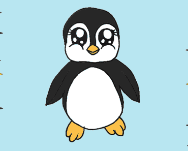 How to draw a baby penguin step by step