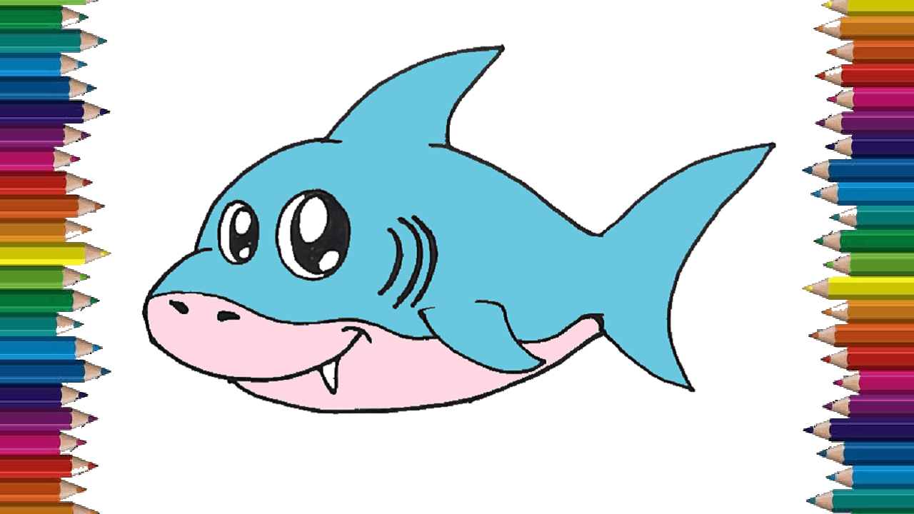 How to draw a baby shark cute and easy cartoon shark drawing step by step